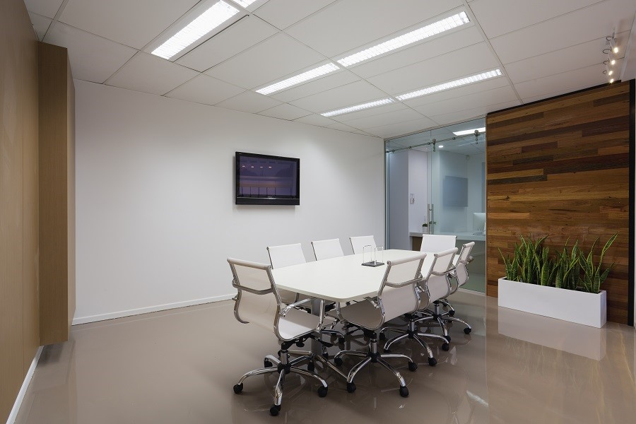 An modern, empty conference room at a business