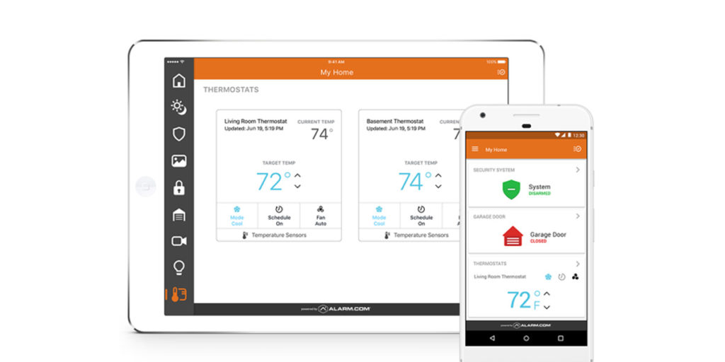 Controlling the smart thermostat temperature from an ipad or phone